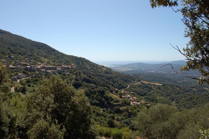 vue panoramique sur le village de Sollacaro